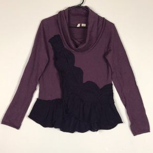 Moth switching sides ruffle cowl neck sweater